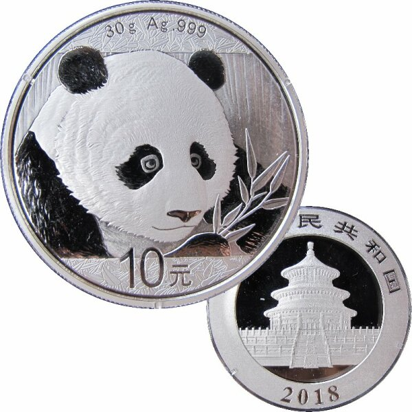 China 10 Yuan Panda 2018 Silber