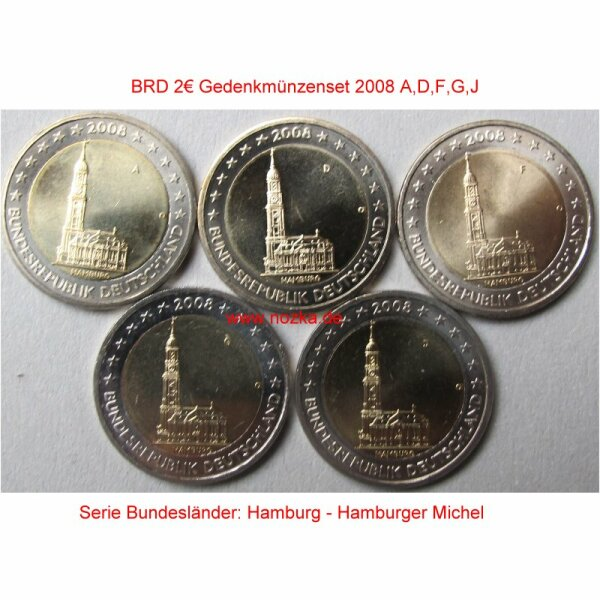 Deutschland 2 Euro 2008 Hamburger Michel A-J lose