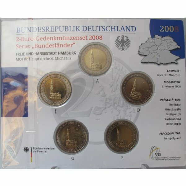 Deutschland 2 Euro Set 2008 Hamburger Michel st